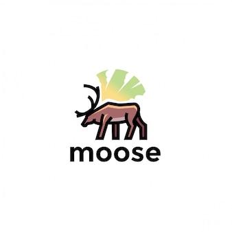 Unico logo animale alce giocoso. moderno
