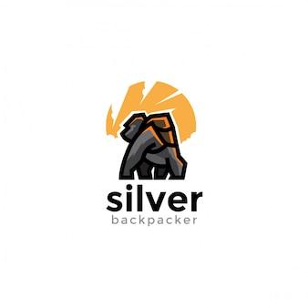 Unico logo animale giocoso silverback. moderno