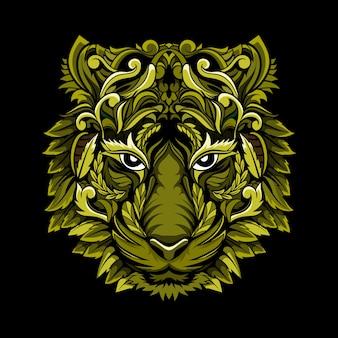 Vettore di disegno unico testa di tigre vintage