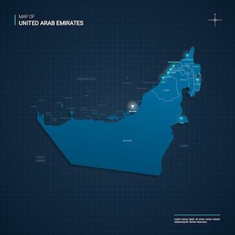 Mappa degli emirati arabi uniti con punti luce al neon blu