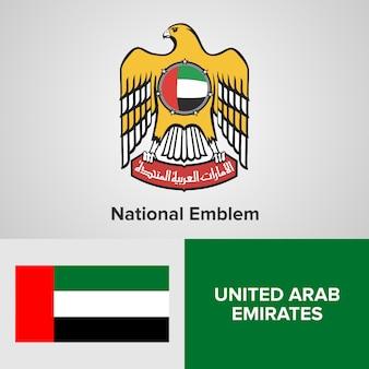 Emblema e bandiera nazionali degli emirati arabi uniti