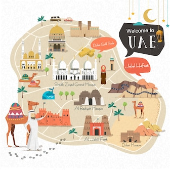 Progettazione della mappa di viaggio degli emirati arabi uniti con attrazioni