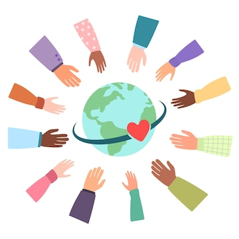 Comunità unita di diverse nazionalità del mondo. l'amore unisce persone provenienti da paesi di tutto il pianeta. mani isolate di vettore, globo, cuori. giornata internazionale della terra. illustrazione piatta