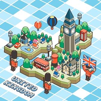 Manifesto di viaggio del regno unito in design piatto isometrico 3d