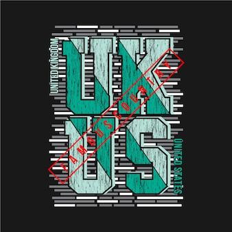 Illustrazione di tipografia grafica del regno unito, stati uniti per la maglietta stampata