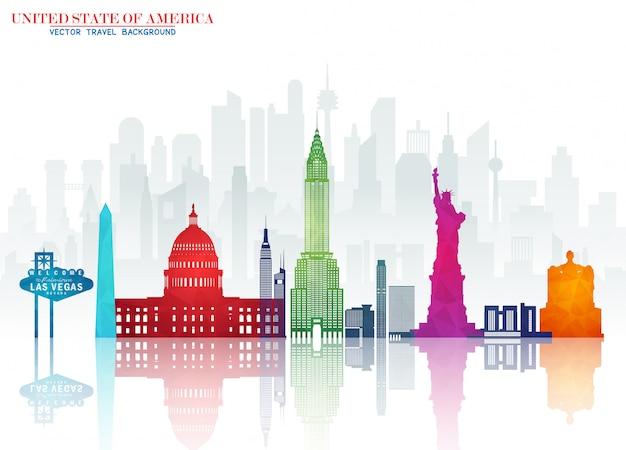 Priorità bassa di carta di viaggio e viaggio del punto di riferimento globale degli stati uniti d'america