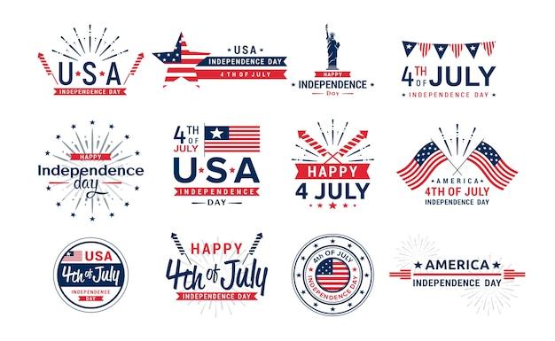 Elementi di saluto del giorno dell'indipendenza degli stati uniti per la raccolta delle icone delle cartoline d'auguri quarto di luglio