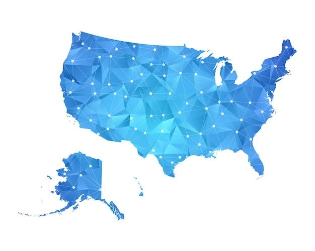 Stati uniti d'america mappa linea punti geometrici astratti poligonali.