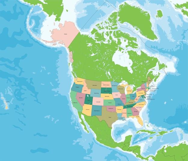 La mappa degli stati uniti d'america