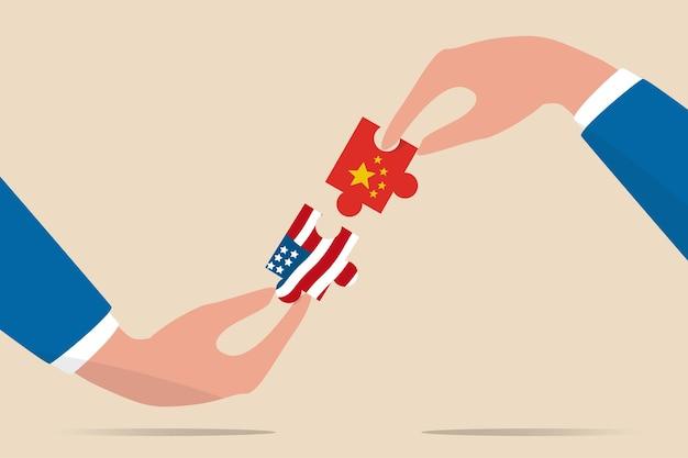 Illustrazione di negoziazione della guerra commerciale degli stati uniti e della cina