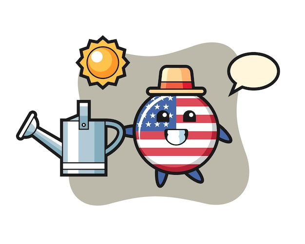 Distintivo della bandiera degli stati uniti, design in stile carino per maglietta, adesivo, elemento logo