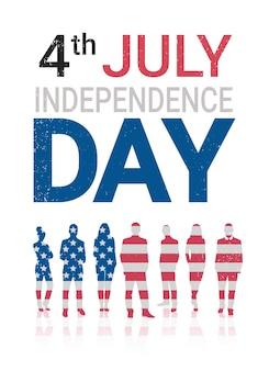 Bandiera degli stati uniti sagome di persone che celebrano le vacanze del giorno dell'indipendenza americana, banner verticale del 4 luglio