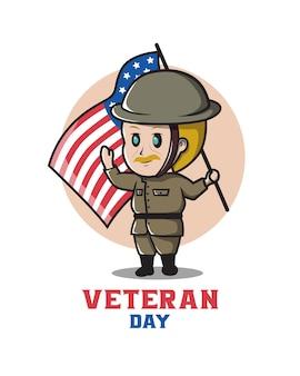 Personaggio veterano degli stati uniti per dare il benvenuto al veterans day