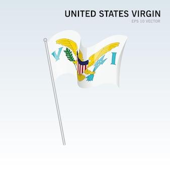 Bandiera degli stati uniti vergine sventolante isolata su gray