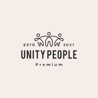 Logo vintage di unità persone hipster