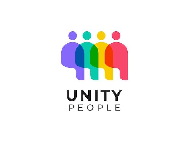 Unità di persone lavoro di squadra logo design concept