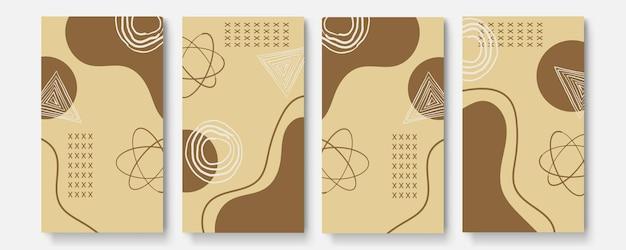 Set di poster astratti universali. carte concettuali astratte creative di colore di tono della terra. carte astratte creative alla moda per matrimoni, anniversari, compleanni, natale, inviti per feste, web, stampa