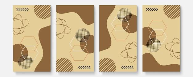 Set di poster astratti universali. schede astratte creative di concetto dell'ananas. carte astratte creative alla moda per matrimoni, anniversari, compleanni, natale, inviti per feste, web, stampa