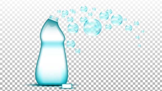 Detergente universale bottiglia vuota e vettore di bolle. sostanza detergente detergente per lavare i vestiti in lavatrice. illustrazione realistica 3d del modello del contenitore di plastica del sapone liquido