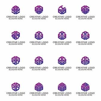 Lettera di design di segno vettoriale elegante universale esagono premio iniziale