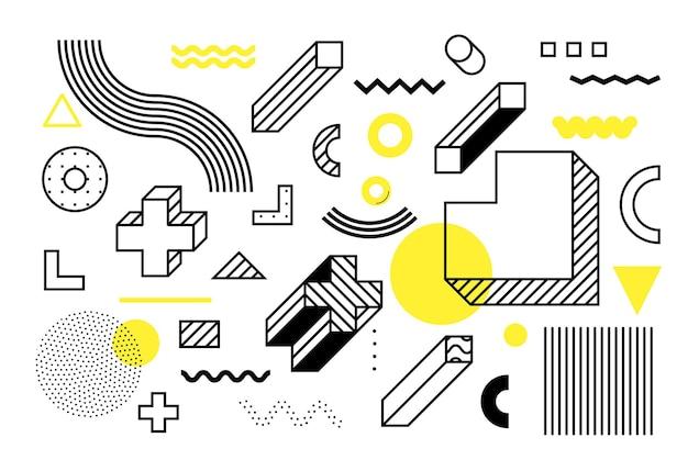 Forme geometriche mezzetinte universali giustapposte a una composizione di elementi gialli brillanti e audaci