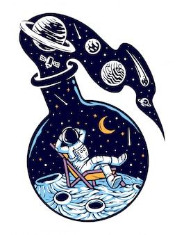 L'universo in un'illustrazione di bottiglia di vetro