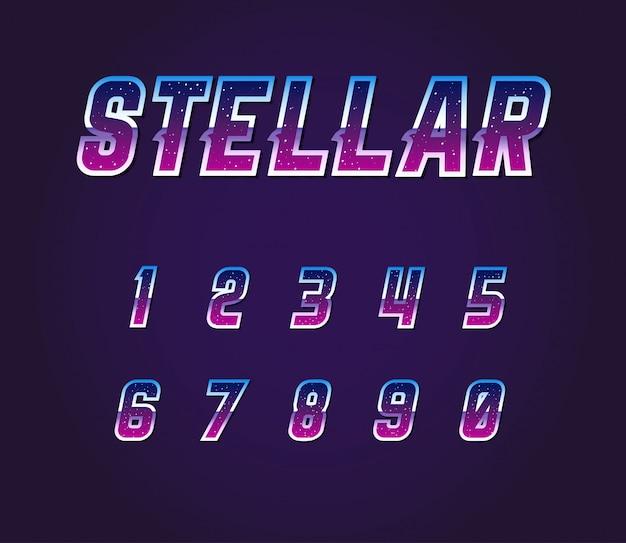Set di numeri di caratteri retrò fantascienza universo pulsar