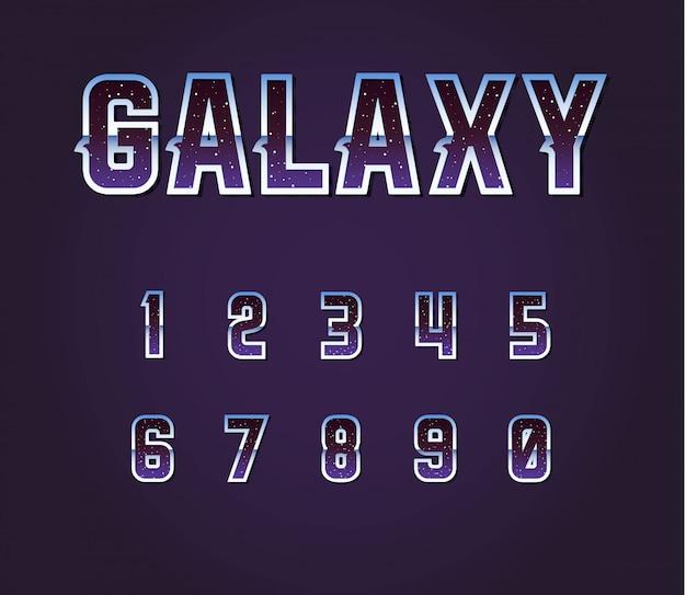 Alfabeto di carattere retrò fantascienza dell'universo