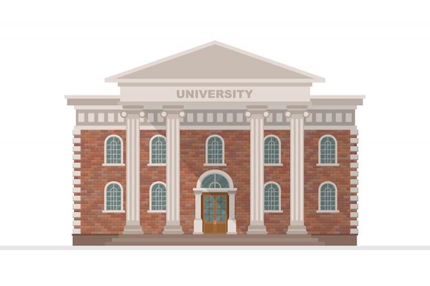 Illustrazione della costruzione dell'università isolata su fondo bianco