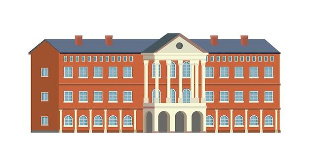 Collage universitario o edificio scolastico isolato piatto icona del fumetto campus retrò biblioteca Vettore Premium