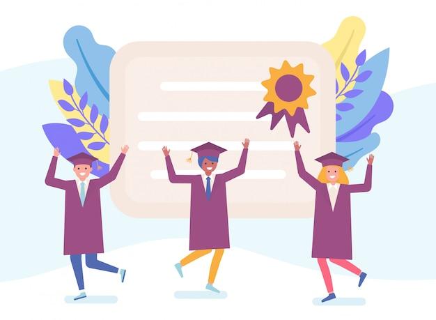 Laureati e universitari in abiti neri e caratteri felici del diploma che imparano l'illustrazione piana della gente.