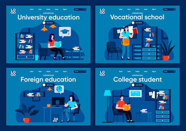 Set di landing page piatte per l'istruzione universitaria. apprendimento a distanza, scene di corsi professionali per sito web o pagina web cms. studente di college, scuola professionale, illustrazione di istruzione straniera.