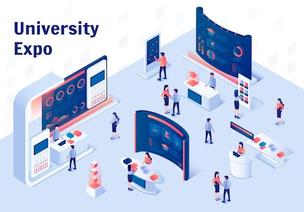 Expo università stand composizione isometrica.