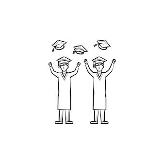Icona di doodle di contorni disegnati a mano di laureati. laureati persone che vomitano su tappi di laurea illustrazione schizzo vettoriale per stampa, web, mobile e infografica isolato su priorità bassa bianca.