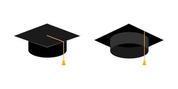 Set di cappellini per la laurea universitaria. cappello dell'accademia. illustrazione di vettore dell'icona di concetto di istruzione