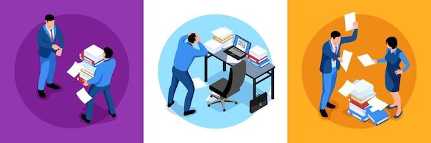 Set di composizioni isometriche di lavoro d'ufficio non organizzato