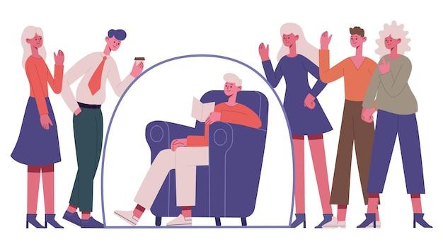 Persona introversa asociale. separazione del gruppo di persone antisociali donna, giovane ragazza introversa in bolla