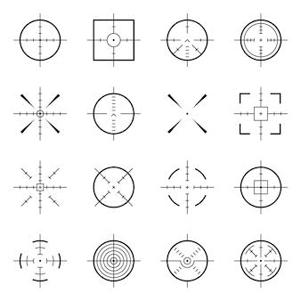 Bullseye insolito, simboli accurati del fuoco. obiettivi di precisione, icone di vettore di destinazione sparatutto