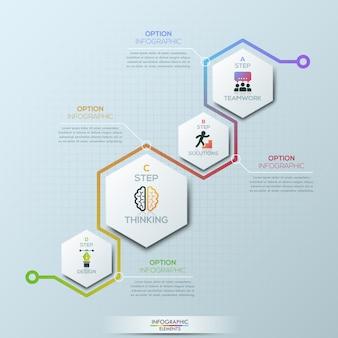 Modello di progettazione infografica insolito. 4 elementi esagonali con pittogrammi e caselle di testo