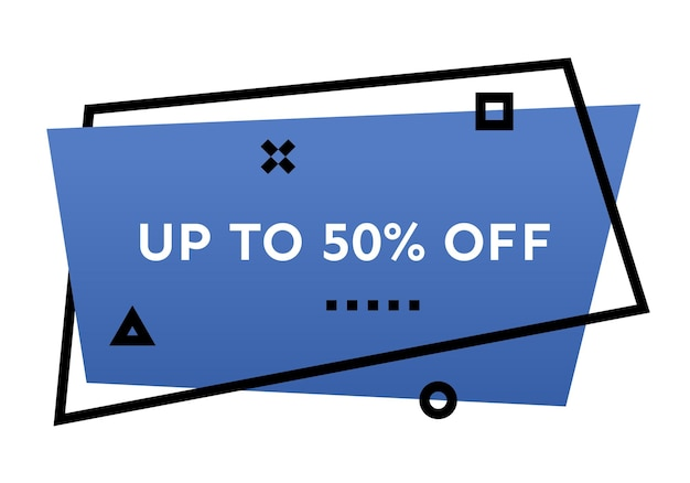 Fino al 50% di sconto sul banner geometrico blu alla moda. moderna forma sfumata con testo promozionale. illustrazione vettoriale.