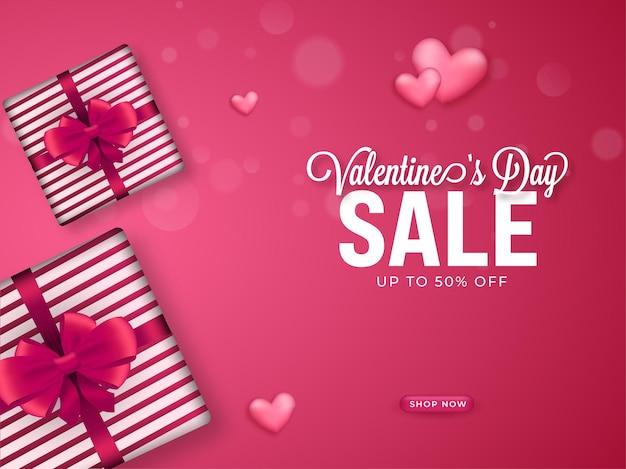 Fino al 50% di sconto per i saldi di san valentino con vista dall'alto di confezioni regalo realistiche.