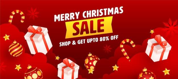Fino all'80% di sconto per il design di intestazione o banner di buon natale in vendita in colore rosso