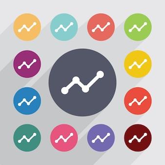 Diagramma, set di icone piatte. bottoni colorati rotondi. vettore