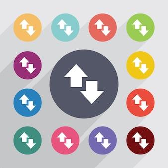 Cerchio freccia su e giù, set di icone piatte. bottoni colorati rotondi. vettore