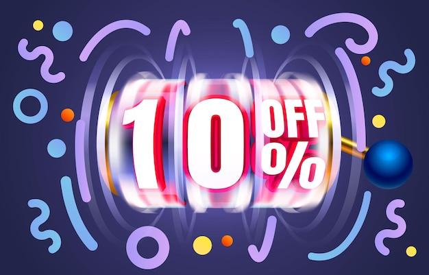 Fino a fuori vendita banner promozione flyer slot etichetta vettore
