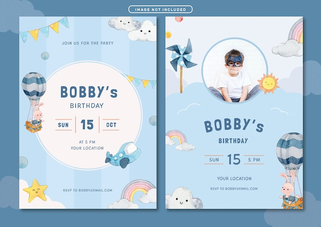 Modello di carta di invito compleanno compleanno tema cielo