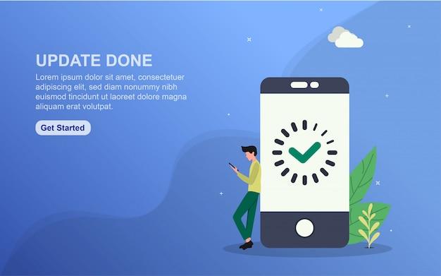 Modello di banner fatto aggiornamento. concetto di illustrazione facile da modificare e personalizzare.