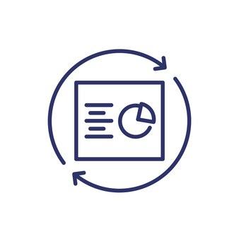 Rapporto di aggiornamento, icona della linea su bianco