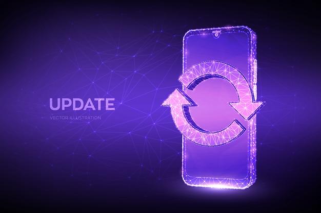 Aggiornamento, sincronizzazione, concetto di elaborazione. smartphone poligonale basso astratto con aggiornamento o segno di sincronizzazione.