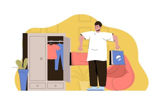 Concetto di guardaroba aggiornato l'uomo tiene a fare shopping con nuovi vestiti alla moda